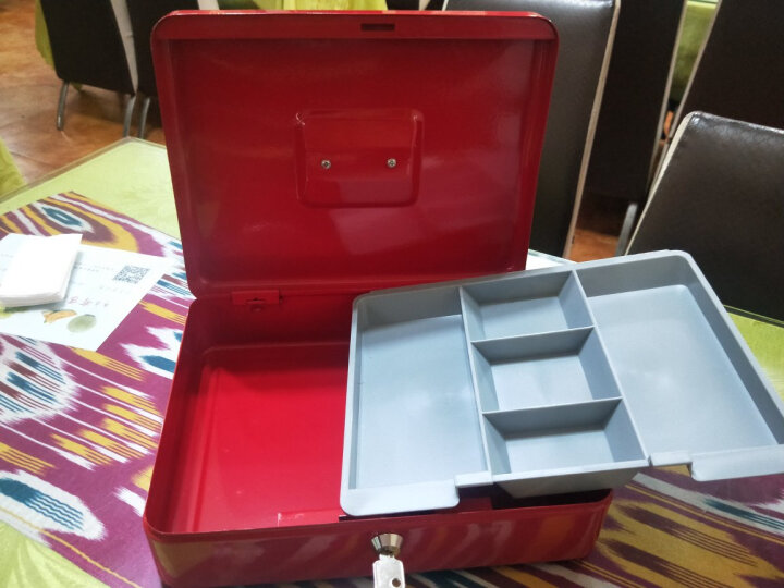 地牌 R-0010 手提大号钱箱 手提金库 收款箱 带锁收银箱 收钱盒 现金箱 红色一个 晒单图