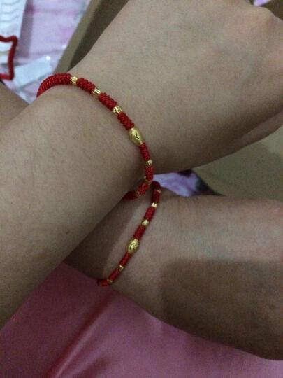 贝罗绮 黄金转运珠手链 999足金路路通本命年红绳橄榄珠手链男女款 0.43克+0.11克*6棵 晒单图