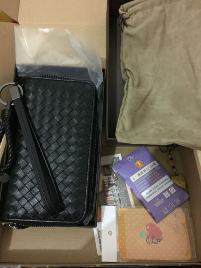 2017年欧美新款羊皮编织钱包女士钱包男士长款拉链钱包真皮夹手机情侣手拿包 双紫色 晒单图