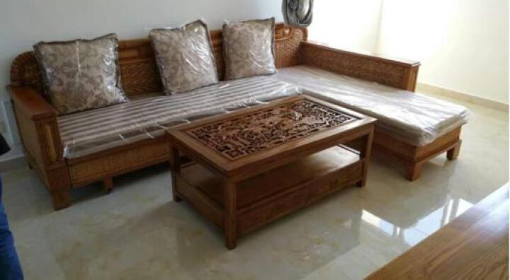 司库诺 藤沙发床 折叠双人沙发床 多功能沙发 实木沙发床 三人位 晒单图