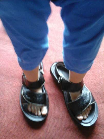 意尔康男鞋夏季套脚两穿男凉鞋牛皮舒适透气清凉男士沙滩鞋7342ZS97001W 黑色 41 晒单图