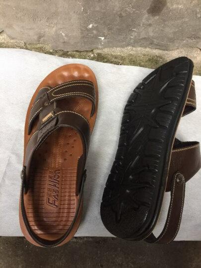 卡帝乐鳄鱼(CARTELO)凉鞋 男牛皮沙滩鞋 夏季款男士透气凉拖两用鞋子1972 棕色经典款 42 晒单图