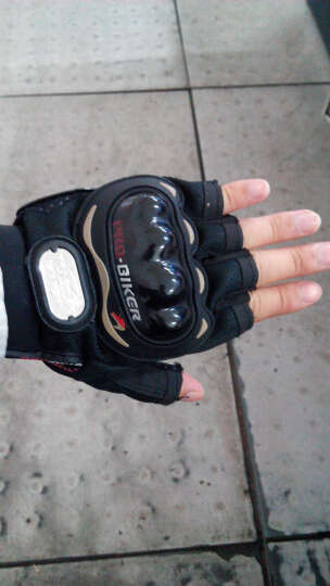 PRO手套骑士全指手套赛车手摩托车手套 越野摩托车装备手套 黑色半指 XL 晒单图