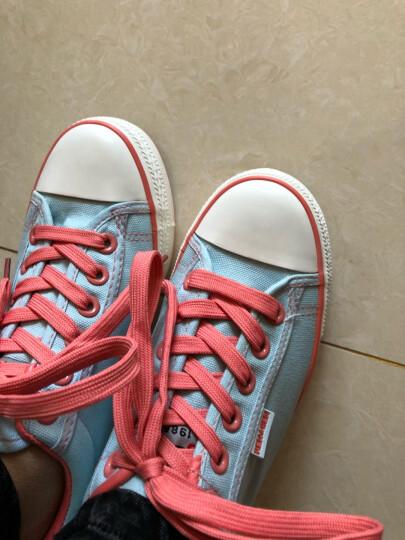 【专区58元2件】人本帆布鞋女鞋糖果色内增高纯色厚底松糕学生鞋系带单鞋 黑色 35 晒单图