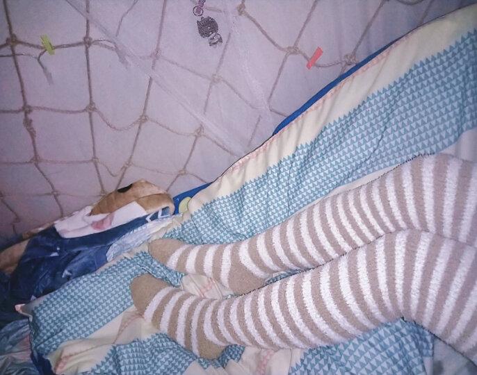 儒侠 秋冬珊瑚绒袜子过膝袜套加厚保暖月子袜护膝长筒护腿套脚套毛绒睡眠袜可爱居家室内地板袜 玫红条小田鼠 均码 晒单图