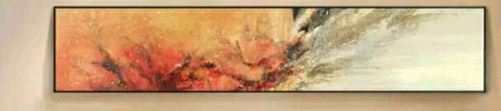 金石 床头风景挂画抽象油画办公室卧室沙发背景墙壁画现代简约客厅室内装饰画有框画单幅 A款 135*35L型框黑色拉丝 晒单图