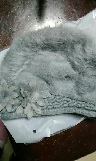 XINBUCKS毛线帽子女冬天护耳双花兔毛帽贝雷帽保暖加厚针织套头帽双层包头产妇月子帽 蓝灰色 晒单图