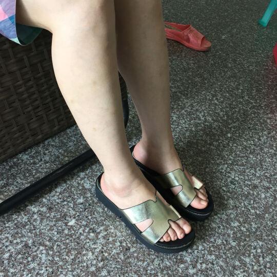 NISIT 夏季新款韩版女鞋子凉拖鞋女外穿厚底一字拖鞋内增高高跟休闲坡跟沙滩鞋女防水台 时尚黑 38 晒单图