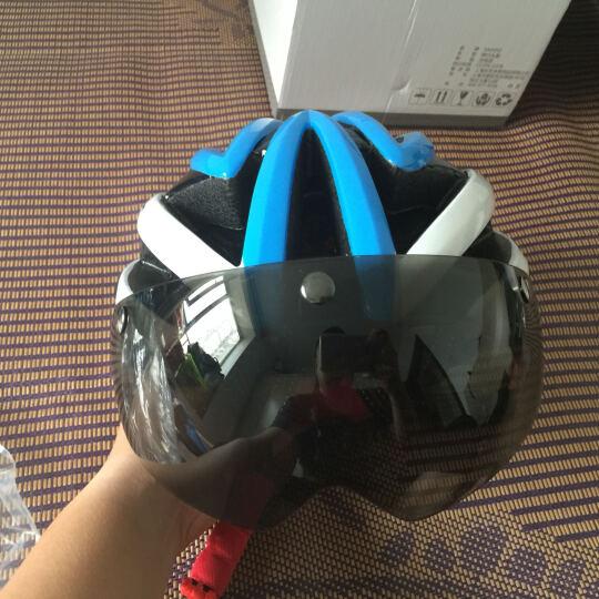 SAHOO 自行车骑行头盔 一体成型带风镜头盔 超轻带眼镜头盔 黑绿+3个镜片 晒单图