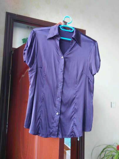 2018夏装新款v领真丝衬衫女款 纯色翻领衬衣 宽松桑蚕丝短袖上衣 深蓝色 4XL 晒单图