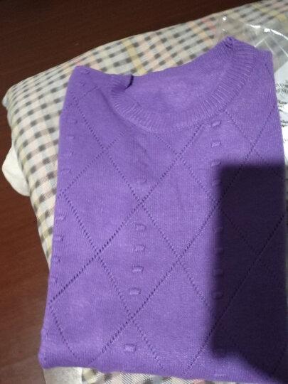 欧妲2019春季女装新品韩版中长款圆领长袖套头针织衫女毛衣打底衫女士外套女T1114 紫色 均码 晒单图