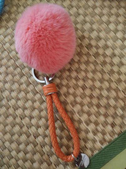 斯丽卡 獭兔毛球钥匙扣车用毛绒挂饰女士编织绳钥匙链钥匙环时尚包挂件 西瓜红毛球 晒单图