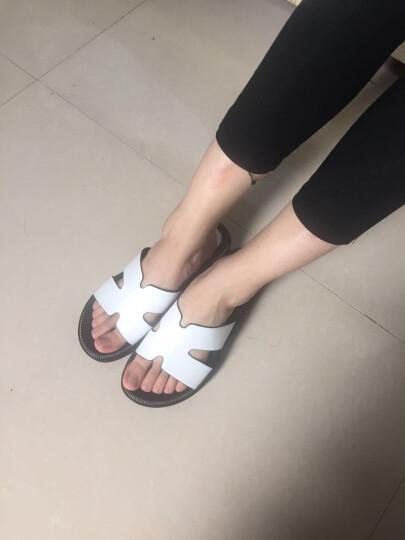 NISIT 夏季新款韩版女鞋子凉拖鞋女外穿厚底一字拖鞋内增高高跟休闲坡跟沙滩鞋女防水台 美丽白 37 晒单图