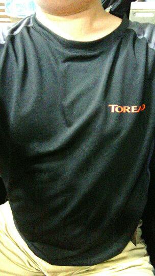 探路者(TOREAD)户外速干短袖t恤 男士透气吸汗快干衣 功能运动圆领T恤 KAJF81316 黑色/深灰 L 晒单图