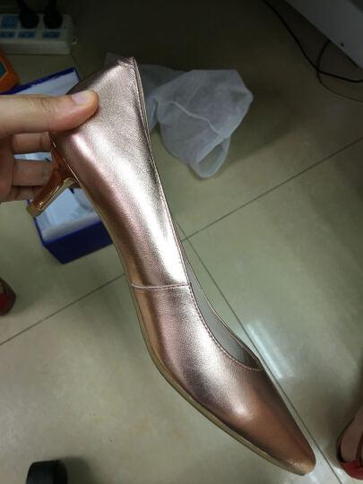CNE 女鞋春夏季尖头细跟高跟鞋简约浅口套脚中跟单鞋CFS 7M55401 白色 WTK 38 晒单图