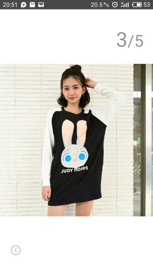 PASS潮牌圆领直筒卡通兔子印花长袖连衣裙学生D6632411222 黑色 S 晒单图