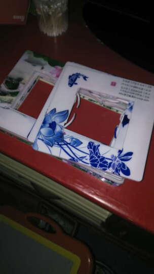 开关贴墙贴树脂塑料亚克力卡通开关套 插座套 插座贴 塑料青花瓷荷花 晒单图