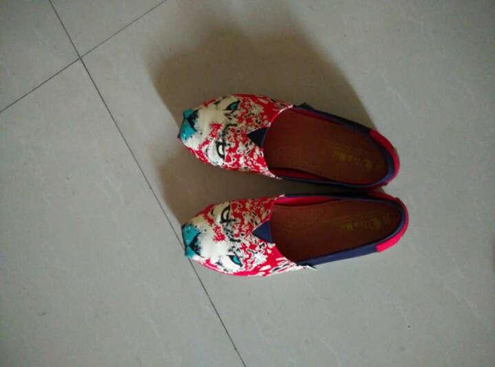 汤姆斯Tt&Mm新款帆布鞋女韩版学生女一脚蹬女生懒人鞋乐福鞋渔夫鞋玛丽鞋TM561109W 红色 37 晒单图
