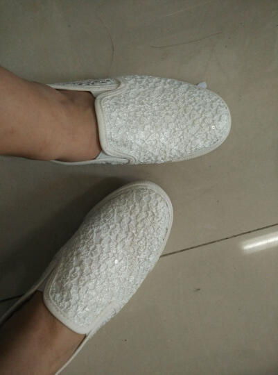 帆布鞋女低帮学生单鞋透气镂空蕾丝懒人鞋 黑色 35 晒单图