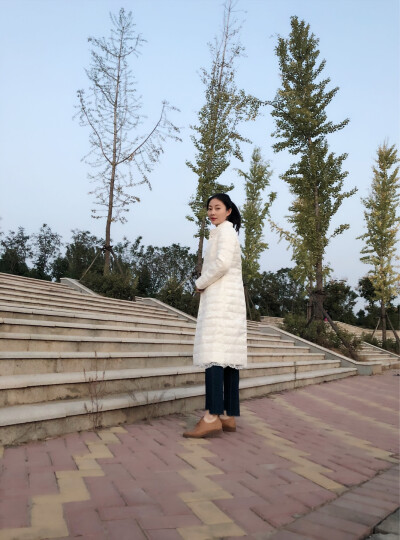 三纬轻薄羽绒服女蕾丝中长款修身显瘦气质优雅冬装纯色外套 黑色 XL 晒单图