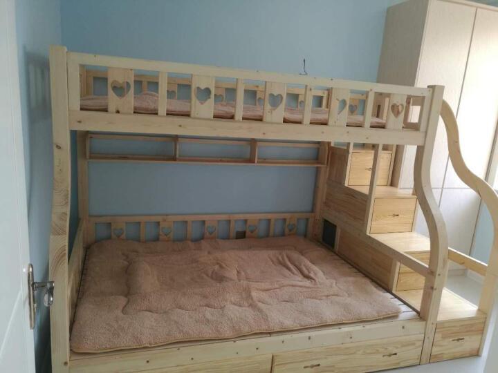 童梦 梯柜高低床 实木子母床双层床上下床高低床两层床松木床上下铺床 胡桃木色 上1米下1.35米 晒单图