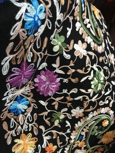 高尼诗刺绣羊毛披肩女四季印度尼泊尔Pashmina刺绣花民族风田园复古围巾 红色碎花 晒单图