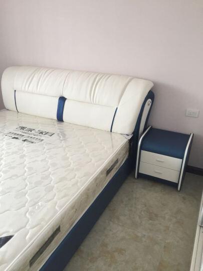 kay时代 皮床  三抽屉榻榻米 1.8米 真皮床 双人床 婚床 867 蓝+白--右边柜 1.8*2.0米+椰棕床垫+1柜 晒单图