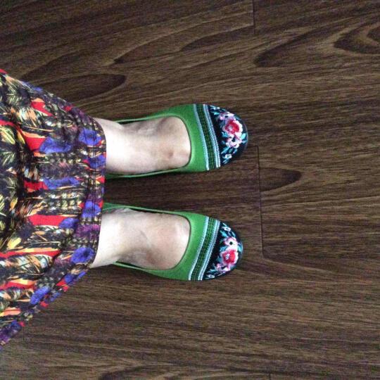 枫树坪 春夏布鞋女鞋绣花鞋女款平底豆豆鞋民族风女单鞋 绿色FLJC1301-6 39 晒单图