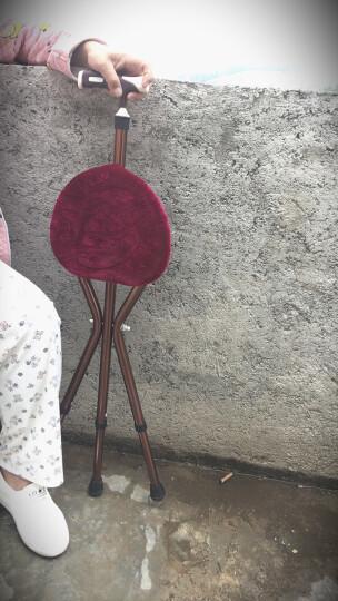 雅德 拐杖凳 老人三角拐棍椅手杖带座椅助行器 咖色标准款(无灯) 晒单图
