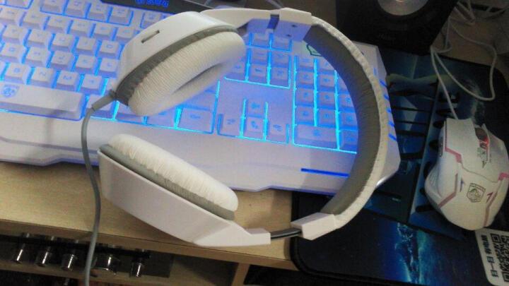 现代(HYUNDAI)游戏电脑耳机 头戴式耳麦带麦克风话筒重低音乐语音 白色HY-H6880 晒单图
