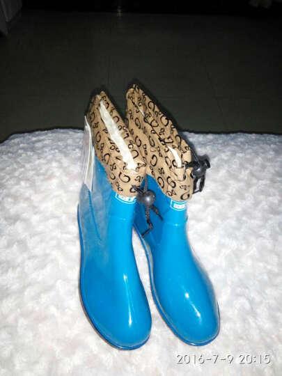 回力雨鞋 糖果色简约舒适女款套鞋雨靴 水鞋 可拆卸加绒保暖鞋 石斑绿加绒 37 晒单图