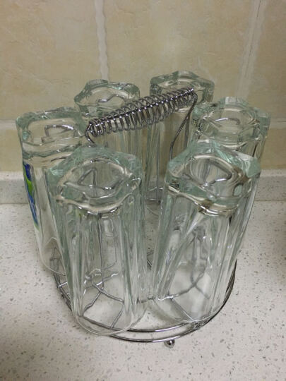 威美家用透明玻璃水杯带杯架套装 男女士喝水杯子柠檬杯牛奶饮料果汁花茶杯子办公酒店用品 曼陀罗六只 晒单图