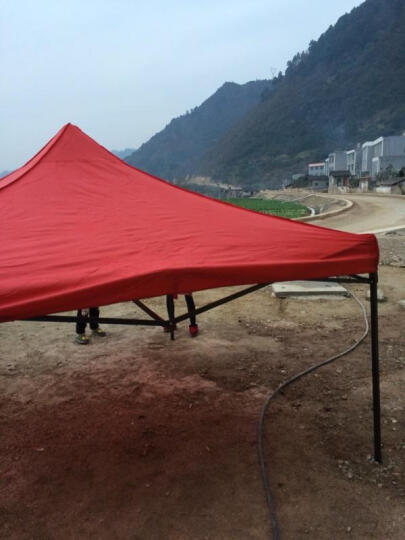 慕斯瑞 户外雨棚广告帐篷折叠遮阳棚汽车停车棚摆摊展销凉棚四角印字 3*6米白色自动架800d布(红色)重42kg 晒单图