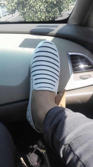人本帆布鞋女鞋条纹护士鞋平底休闲一脚蹬小白鞋 红色 35 晒单图