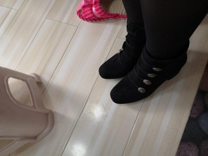 设计师女鞋 MIO米奥女鞋 冬季羊绒皮革扣饰中跟女短靴M175604607 黑色 35 晒单图