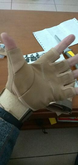 翔游户外黑鹰战术手套户外手套 防滑军迷防割登山格斗运动健身手套军迷用品 黑色半指款(防护板) XL 晒单图