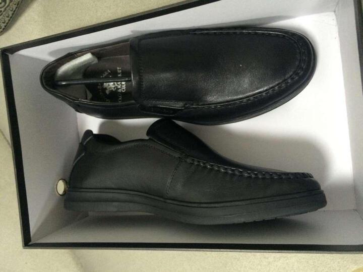 圣大保罗皮鞋男士商务休闲鞋头层牛皮套脚软底爸爸鞋 黑色 39皮鞋 偏大一码 晒单图