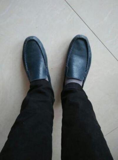 卡梅猫carme cat男鞋真皮豆豆鞋男透气休闲鞋男士商务皮鞋流行驾车鞋套脚英伦男鞋时尚潮 蓝色 40码 晒单图