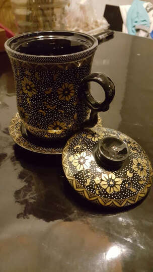 尚言坊 乌金黑釉金盏花陶瓷杯 四件套带盖带过滤带杯碟 水杯咖啡杯 办公杯婚庆送礼创意礼品 黑金盏花四件杯(满彩) 晒单图