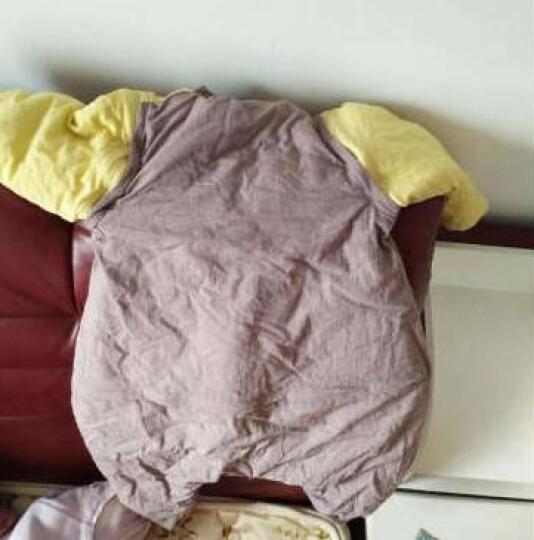 龙之涵 婴儿睡袋 春秋冬分腿式宝宝睡袋 四季可拆袖可脱胆儿童防踢被睡袋 格子棕 XXL码(棉花内胆款) 晒单图