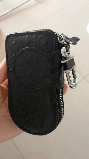 歌洛兹德大容量鸵鸟纹牛皮腰挂情侣汽车钥匙包男士女士多功能钥匙扣礼盒 1018黑色 晒单图