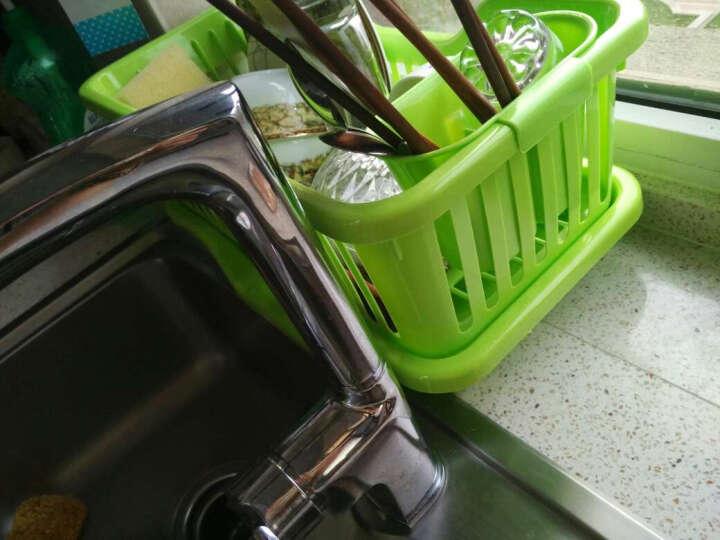 梦思园沥水架碗碟架 单层塑料碗碟柜带水槽 厨房收纳篮 碗碟套装 果绿色加厚款 晒单图
