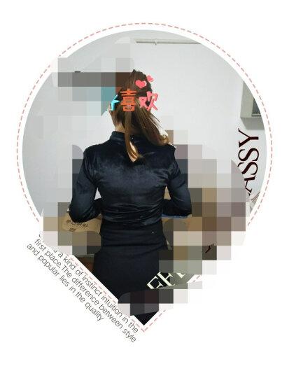 格缇妃 加绒打底衫女长袖秋冬新款韩版金丝绒蕾丝上衣服加厚保暖百搭小衫 6738绿色 3XL 晒单图