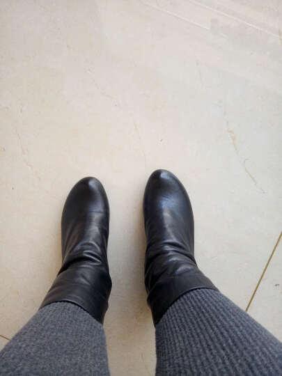 相伴秋冬新款手工欧美风休闲女短靴方根舒适牛皮女鞋 黑色 34 晒单图