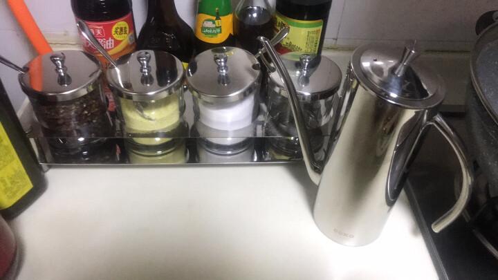 CCKO 调味罐套装 304不锈钢调料盒四件套 钢化玻璃佐料盐瓶 家用欧式创意厨房防 精钻调味罐(四味)+8L砂钢垃圾桶 晒单图