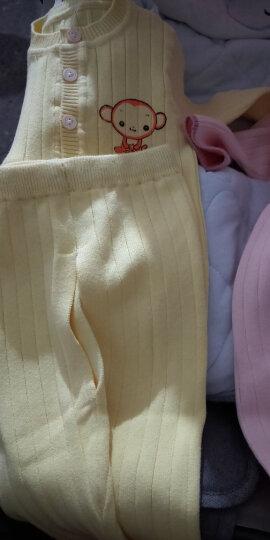 唐果鸭 细毛线编织薄款男女宝宝毛衣毛裤两件套装开衫长袖棉婴儿春秋装新生儿打底衫针织衫外套 12058黄色 L码73码建议0-3个月 晒单图