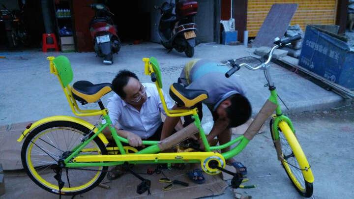 迈高登皇捷 双人自行车成人24寸情侣车两人骑脚踏车旅游景点出租观光车 红黄色母子车 晒单图