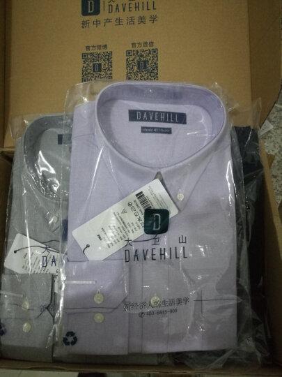 大卫山davehill 棉质纯色简约长袖衬衫男 春季新款男士商务休闲纯色衬衣 紫色PP 42(175/100A) 晒单图