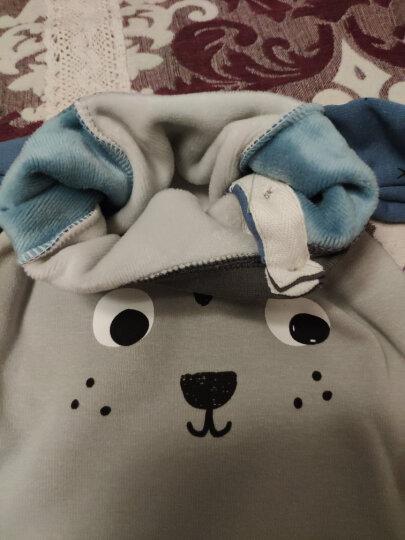 南极人宝宝加绒保暖衣服婴儿秋冬新款内衣套男女童保暖两件套 高腰-小老虎-深蓝 100CM 晒单图