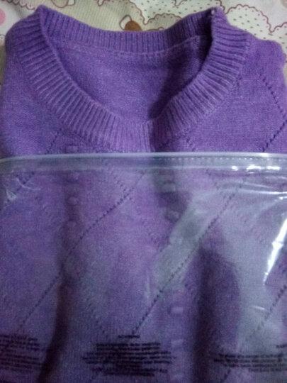 欧妲2019秋季女装新品韩版中长款圆领长袖套头针织衫女毛衣打底衫女士外套女T1114 紫色 均码 晒单图